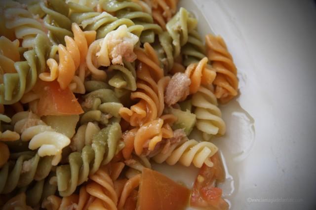 Ensalada de pasta, tomate, pepino y atun